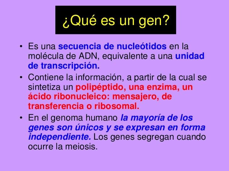 ¿Qué es un gen?<br />Es una secuencia de nucleótidos en la molécula de ADN, equivalente a una unidad de transcripción.<br ...