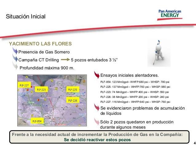 """4 Situación Inicial YACIMIENTO LAS FLORES Presencia de Gas Somero Campaña CT Drilling 5 pozos entubados 3 ½"""" Profundidad m..."""