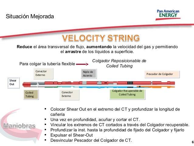 6 Situación Mejorada Reduce el área transversal de flujo, aumentando la velocidad del gas y permitiendo el arrastre de los...