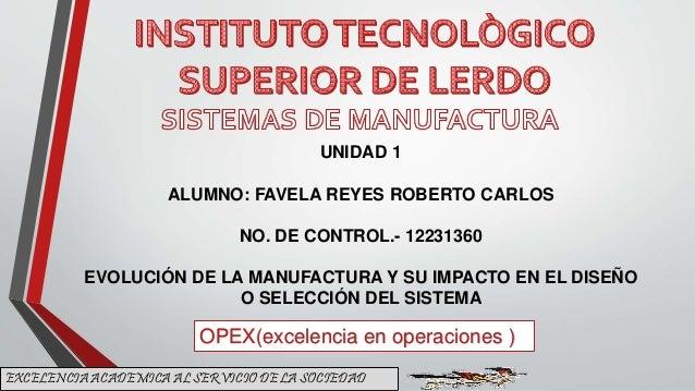 EXCELENCIA ACADEMICA AL SERVICIO DE LA SOCIEDAD OPEX(excelencia en operaciones ) UNIDAD 1 ALUMNO: FAVELA REYES ROBERTO CAR...