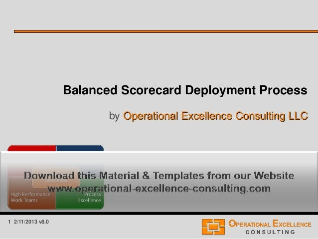 1 2/11/2013 v8.0 Balanced Scorecard Deployment Process by Operational Excellence Consulting LLC
