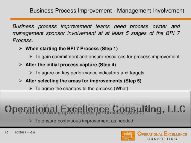10 11/3/2011 – v2.0 Business Process Improvement - Management Involvement Business process improvement teams need process ...