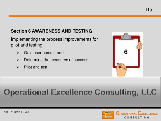 101 11/3/2011 – v2.0 Do Section 6 AWARENESS AND TESTING Implementing the process improvements for pilot and testing  Gain...