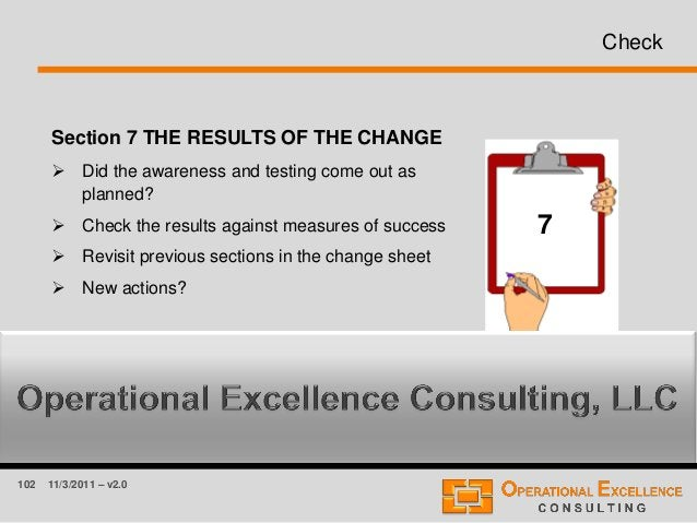 102 11/3/2011 – v2.0 Check Section 7 THE RESULTS OF THE CHANGE  Did the awareness and testing come out as planned?  Chec...