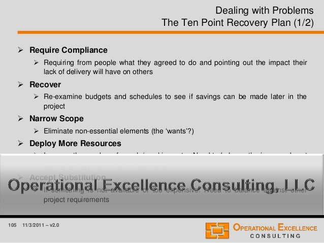 105 11/3/2011 – v2.0 Dealing with Problems The Ten Point Recovery Plan (1/2)  Require Compliance  Requiring from people ...