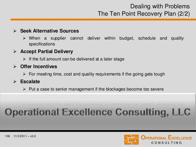 106 11/3/2011 – v2.0 Dealing with Problems The Ten Point Recovery Plan (2/2)  Seek Alternative Sources  When a supplier ...