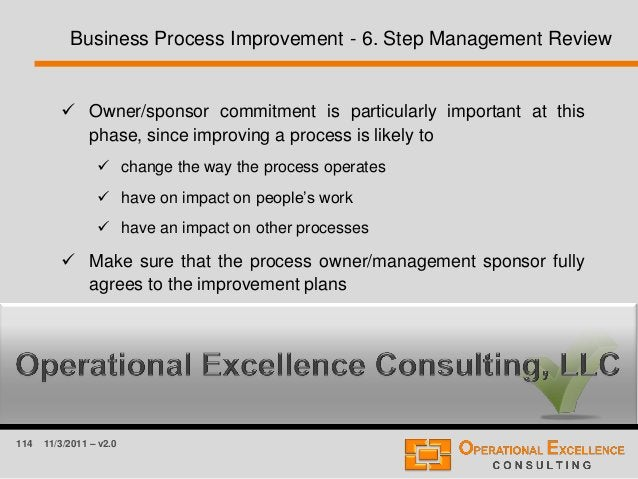 114 11/3/2011 – v2.0 Business Process Improvement - 6. Step Management Review  Owner/sponsor commitment is particularly i...