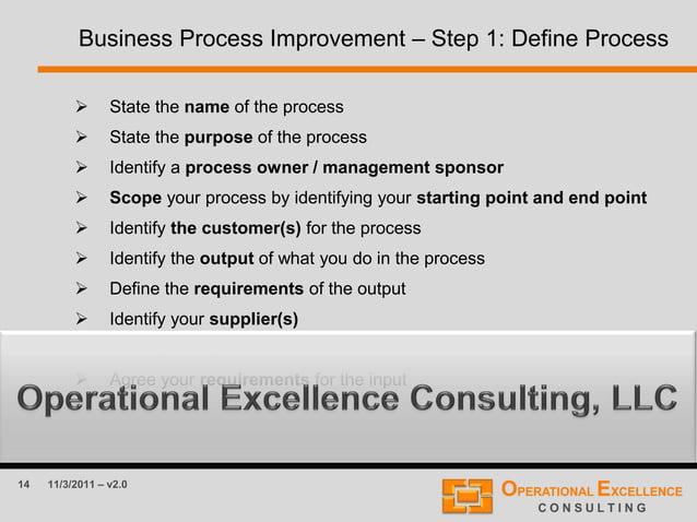 14 11/3/2011 – v2.0 Business Process Improvement – Step 1: Define Process  State the name of the process  State the purp...