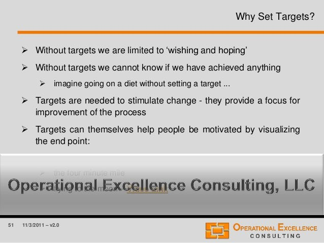 51 11/3/2011 – v2.0 Why Set Targets?  Without targets we are limited to 'wishing and hoping'  Without targets we cannot ...