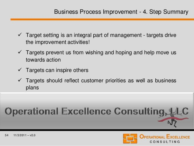 54 11/3/2011 – v2.0 Business Process Improvement - 4. Step Summary  Target setting is an integral part of management - ta...