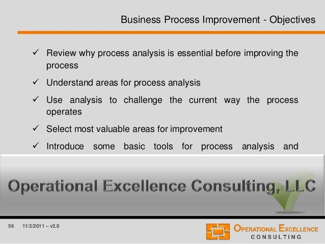 56 11/3/2011 – v2.0  Review why process analysis is essential before improving the process  Understand areas for process...