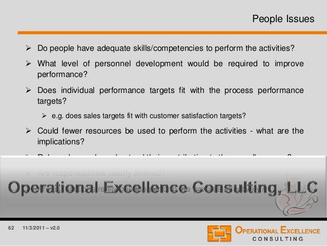 62 11/3/2011 – v2.0 People Issues  Do people have adequate skills/competencies to perform the activities?  What level of...