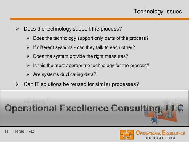 63 11/3/2011 – v2.0 Technology Issues  Does the technology support the process?  Does the technology support only parts ...