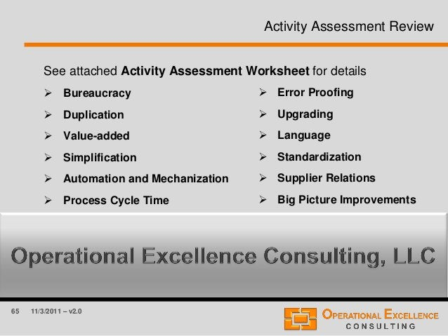 65 11/3/2011 – v2.0 Activity Assessment Review See attached Activity Assessment Worksheet for details  Bureaucracy  Dupl...