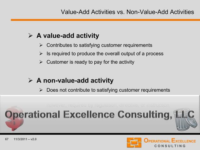 67 11/3/2011 – v2.0 Value-Add Activities vs. Non-Value-Add Activities  A value-add activity  Contributes to satisfying c...