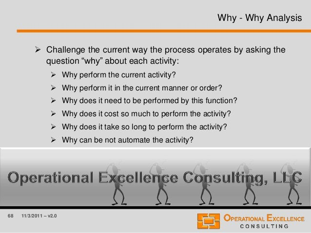 """68 11/3/2011 – v2.0 Why - Why Analysis  Challenge the current way the process operates by asking the question """"why"""" about..."""