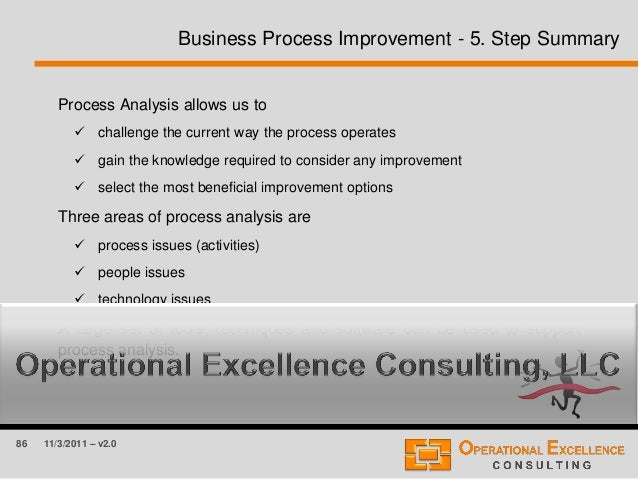 86 11/3/2011 – v2.0 Business Process Improvement - 5. Step Summary Process Analysis allows us to  challenge the current w...
