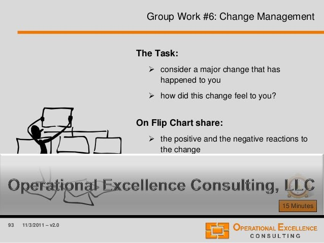 93 11/3/2011 – v2.0 Group Work #6: Change Management 15 Minutes The Task:  consider a major change that has happened to y...