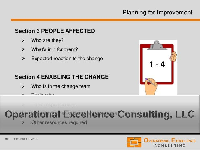 99 11/3/2011 – v2.0 Planning for Improvement Section 3 PEOPLE AFFECTED  Who are they?  What's in it for them?  Expected...