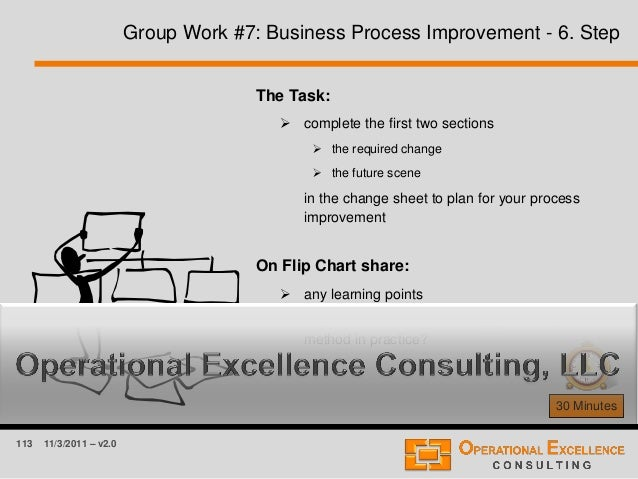 113 11/3/2011 – v2.0 Group Work #7: Business Process Improvement - 6. Step 30 Minutes The Task:  complete the first two s...