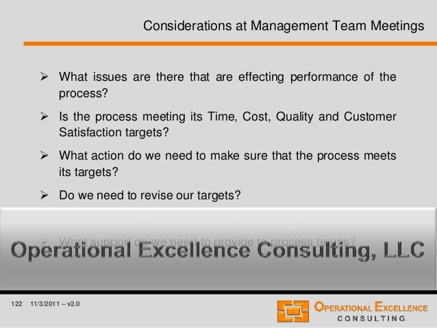 122 11/3/2011 – v2.0 Considerations at Management Team Meetings  What issues are there that are effecting performance of ...