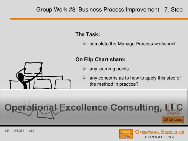 124 11/3/2011 – v2.0 Group Work #8: Business Process Improvement - 7. Step 20 Minutes The Task:  complete the Manage Proc...