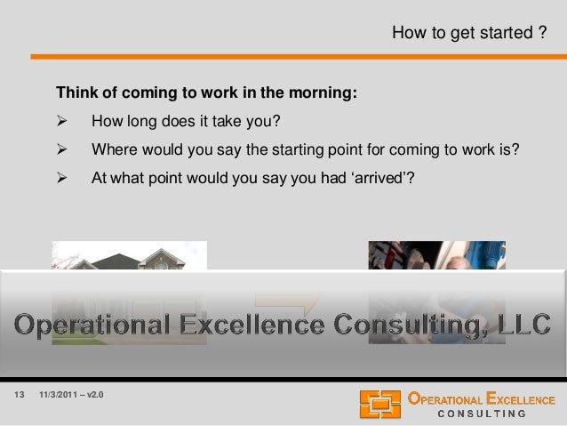 13 11/3/2011 – v2.0 How to get started ? Think of coming to work in the morning:  How long does it take you?  Where woul...