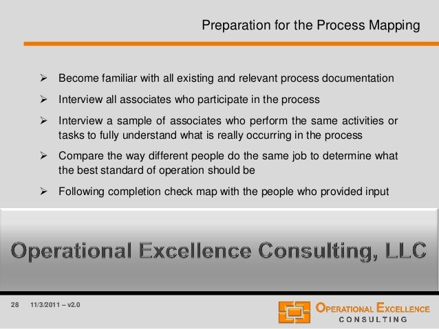 28 11/3/2011 – v2.0 Preparation for the Process Mapping  Become familiar with all existing and relevant process documenta...