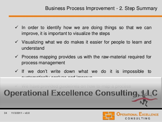 34 11/3/2011 – v2.0 Business Process Improvement - 2. Step Summary  In order to identify how we are doing things so that ...
