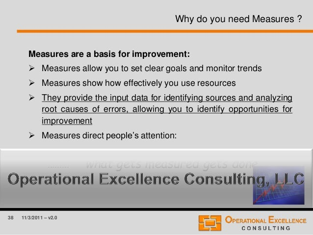38 11/3/2011 – v2.0 Why do you need Measures ? Measures are a basis for improvement:  Measures allow you to set clear goa...