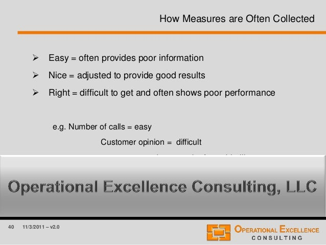 40 11/3/2011 – v2.0 How Measures are Often Collected  Easy = often provides poor information  Nice = adjusted to provide...