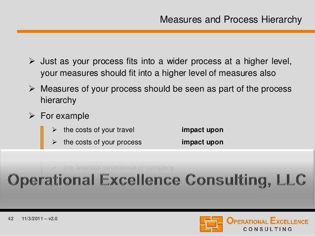 42 11/3/2011 – v2.0 Measures and Process Hierarchy  Just as your process fits into a wider process at a higher level, you...