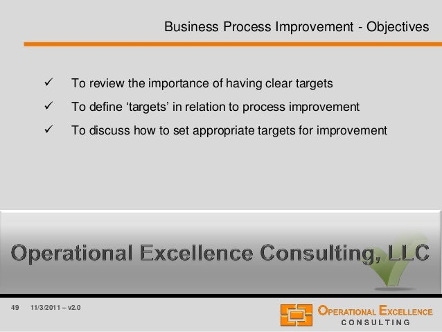 49 11/3/2011 – v2.0  To review the importance of having clear targets  To define 'targets' in relation to process improv...