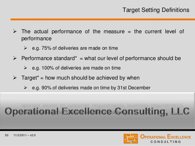 50 11/3/2011 – v2.0 Target Setting Definitions  The actual performance of the measure = the current level of performance ...
