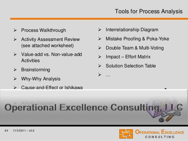 64 11/3/2011 – v2.0 Tools for Process Analysis  Process Walkthrough  Activity Assessment Review (see attached worksheet)...