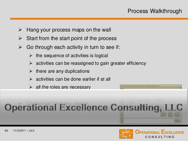 66 11/3/2011 – v2.0 Process Walkthrough  Hang your process maps on the wall  Start from the start point of the process ...