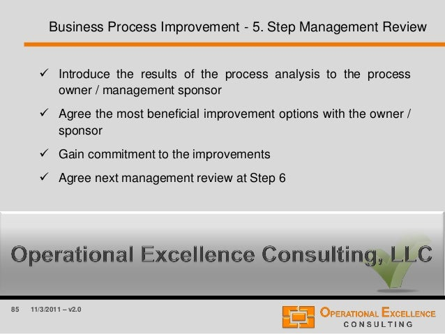 85 11/3/2011 – v2.0 Business Process Improvement - 5. Step Management Review  Introduce the results of the process analys...