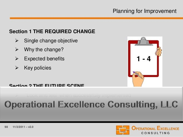 98 11/3/2011 – v2.0 Planning for Improvement Section 1 THE REQUIRED CHANGE  Single change objective  Why the change?  E...
