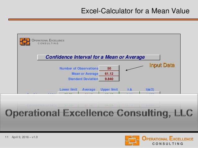 11 April 9, 2016 – v1.0 Confidence Interval for a Mean or Average Number of Observations 50 Mean or Average 61.12 Standard...