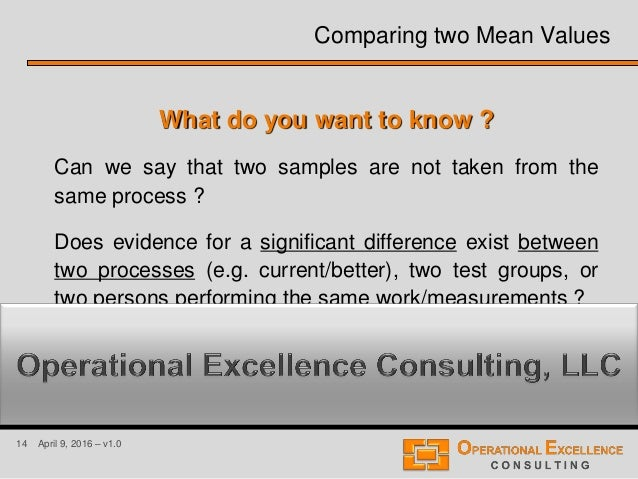 14 April 9, 2016 – v1.0 What do you want to know ? Can we say that two samples are not taken from the same process ? Does ...