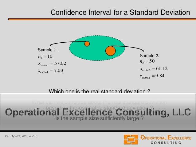 29 April 9, 2016 – v1.0 Confidence Interval for a Standard Deviation 03.7 02.57 10 1 1 1    estim estim s x n Sample 1....