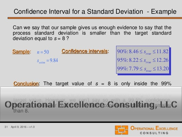 31 April 9, 2016 – v1.0 Confidence Interval for a Standard Deviation - Example Can we say that our sample gives us enough ...