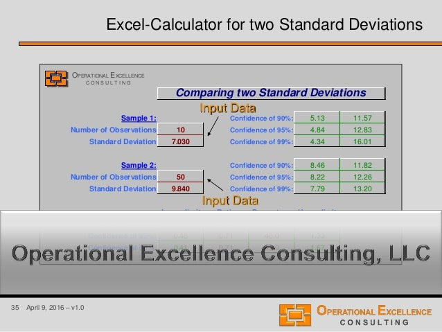 35 April 9, 2016 – v1.0 Comparing two Standard Deviations Sample 1: Confidence of 90%: 5.13 11.57 Number of Observations 1...