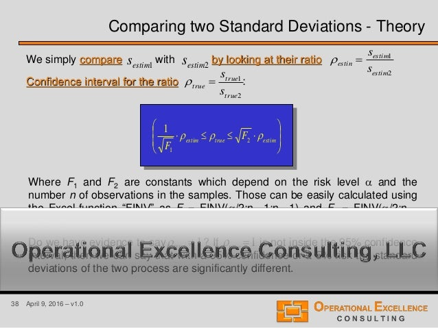 38 April 9, 2016 – v1.0 We simply compare with by looking at their ratio Confidence interval for the ratio : 1estims 2esti...
