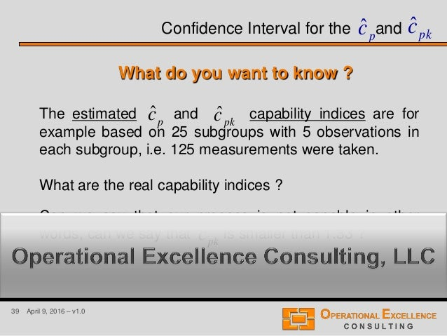 39 April 9, 2016 – v1.0 Confidence Interval for the and The estimated and capability indices are for example based on 25 s...