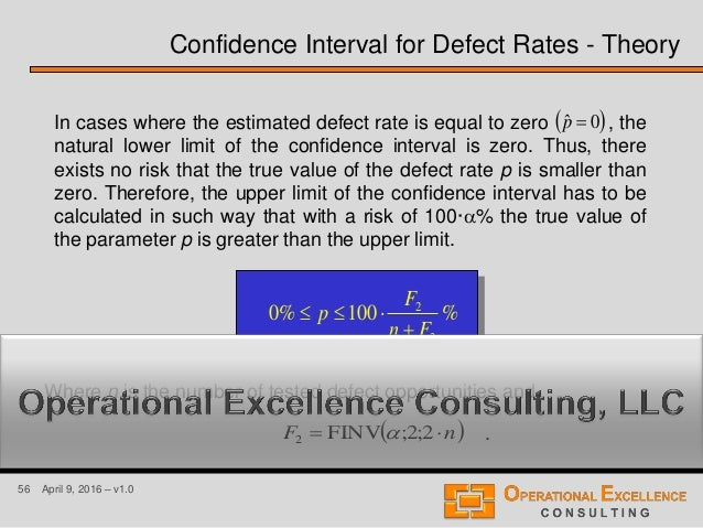 56 April 9, 2016 – v1.0 In cases where the estimated defect rate is equal to zero , the natural lower limit of the confide...