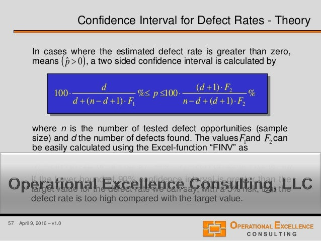 57 April 9, 2016 – v1.0 In cases where the estimated defect rate is greater than zero, means , a two sided confidence inte...
