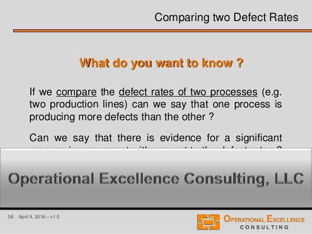 58 April 9, 2016 – v1.0 Comparing two Defect Rates What do you want to know ? If we compare the defect rates of two proces...