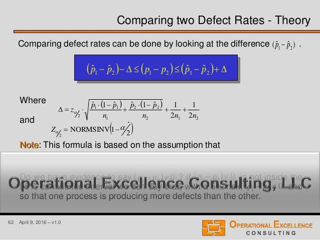 62 April 9, 2016 – v1.0 Comparing defect rates can be done by looking at the difference .)ˆˆ( 21 pp        DD...
