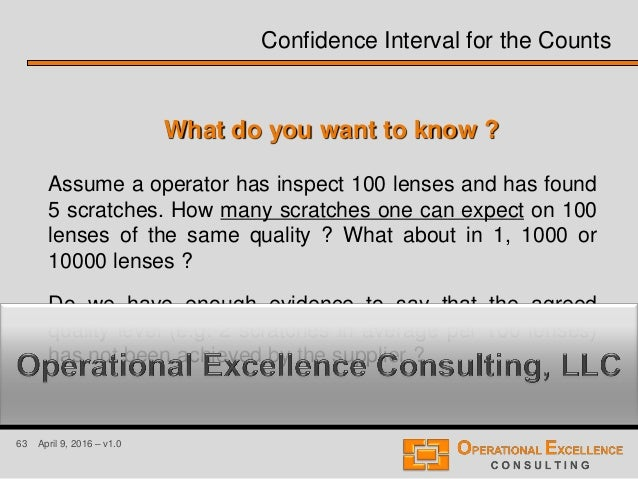 63 April 9, 2016 – v1.0 Confidence Interval for the Counts What do you want to know ? Assume a operator has inspect 100 le...
